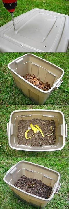 Compost - Step Recycle or buy a plastic bin with a tight fitting lid about 24 inches tall or taller (it needs a lid to keep the soil moist and to keep critters out). Step Use a drill to make 8 – 10 small Gardening For Beginners, Gardening Tips, Gardening Shoes, Composting 101, Urban Composting, How To Make Compost, Garden Compost, Diy Compost Bin, Plastic Bins