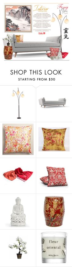 """""""Inspired by Feng Shui.."""" by vkevans ❤ liked on Polyvore featuring interior, interiors, interior design, home, home decor, interior decorating, Adesso, Joybird Furniture, Cost Plus World Market and Miller Harris"""