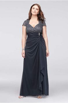 Spirited Elegant Black Gray Plus Size Mother Of The Bride Groom Lace Dresses Mermaid Formal Special Occasion Evening Gown Godmother Dress Wedding Party Dress Mother Of The Bride Dresses