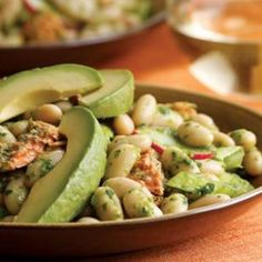 Bean & Salmon Salad with Anchovy-Arugula Dressing Recipe. I'm not sure about the anchovy, but I'm definitely testing out some arugula dressing!