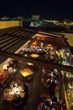 Shore, Sarasota, Florida- the al fresco rooftop dining area.