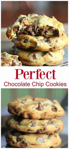 Perfect Chocolate Chip Cookies Recipe - These perfect cookies are buttery, chewy, thick and chocked full of rich, semi-sweet chocolate chips - Chocolate Chip Cookies Recept, Perfect Chocolate Chip Cookie Recipe, Chocolate Cookie Recipes, Semi Sweet Chocolate Chips, Chocolate Flavors, Chocolate Chocolate, Healthy Chocolate, Baking Recipes, Dessert Recipes