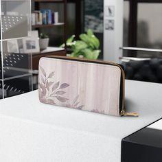 Zipper Wallet, Faux Leather Wallet, Gift for Aunt, Women's Purses, Vintage Leaves Design