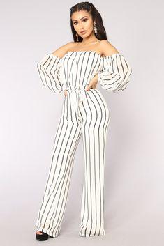 Lorena Off Shoulder Jumpsuit - Ivory Stripe