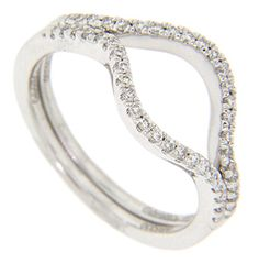 A single row of diamonds decorates the top half of each of these 14K white gold curved wedding bands. Photographed here with R988 (sold separately), each curved band measures 5.1mm in width. Size: 6 1/2. We can re-size. The bands are frequently purchased as a set for $1,140.00 but they are also available individually for