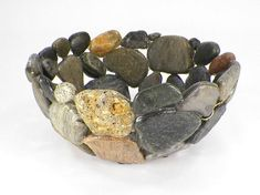 This decorative and functional centerpiece bowl is unique in its' display of the textures and colors of New England beachstone. Handmade from choice North Hampton, New Hampshire beach stone, and coated with a Stone Crafts, Rock Crafts, Arts And Crafts, England Beaches, Rock Sculpture, Stone Bowl, Rock Decor, Upcycled Home Decor, Beach Stones