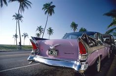 Pink Vintage Car in Art Deco District (Miami).