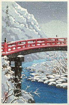Sacred Bridge, Nikko  by Kawase Hasui