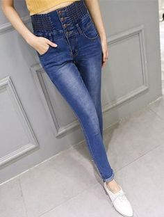 Elastic High Waist Casual Denim Jeans Pants