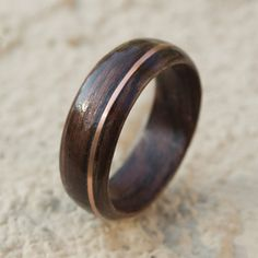 Rosewood Bentwood Ring with offset Copper Inlay by NublusDesigns
