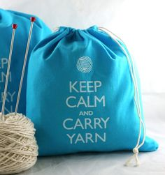 Small+Knitting+Projects | Small knitting project bag - Keep Calm and Carry Yarn - turquoise