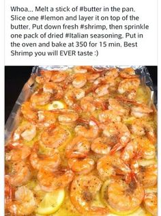 Shrimp Recipe - My Fridge Food Baked Shrimp Scampi Shrimp Recipes Easy, Fish Recipes, Seafood Recipes, Dinner Recipes, Cooking Recipes, Healthy Recipes, Shrimp Lejon Recipe, Bubba Gump Shrimp Recipe, Butter