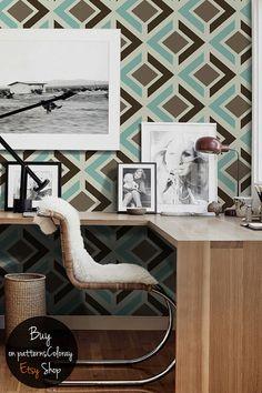 Retro geometric pattern, seamless, regular shapes, simple wallpaper, wall mural, self adhesive, reusable, removable #115