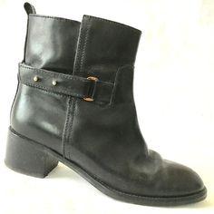 J.CREW Parker Ankle Boot Black Leather $278 Bootie Moto Biker Buckle Strap 9 #JCrew #AnkleBoots #Casual