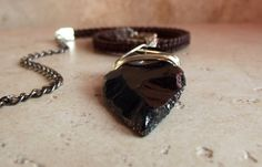 Handmade Obsidian Arrowhead Brown Leather Mens Necklace  SherryKayDesigns Enter shop here: https://www.etsy.com/shop/SherryKayDesigns?  Necklace