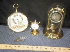 Vintage Schatz Brass 400 Day clock with Glass Dome. Made in Germany. Hygrometer Made in France Round Gold Toned Bulova Mantle Clack with Hygrometer and Temperature