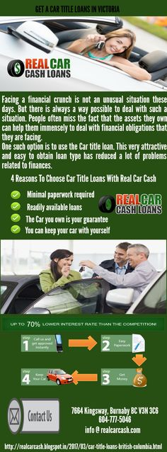 Collateral vehicle title loans are the fast way to get fast cash for emergencies and urgent payments. If trouble arises and you need instant cash, collateral pawn my car for cash vehicle title loans have the lowest interest rates and longest loan terms. For more information on how to get title loans in Victoria just visit http://realcarcash.blogspot.in/2017/03/car-title-loans-british-columbia.html