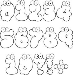 Cartoon Numbers Set 0-10 Coloring page