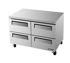 "Turbo Air TurboAir Super Deluxe Series Undercounter Freezer 12 cu. ft. - TUF-48SD-D4 Super Deluxe Series Undercounter Freezer, two-section, 12 cu. ft., s/s top, front & sides, (4) s/s drawers w/recessed handles, s/s interior with white ABS door liner, 5"" casters"