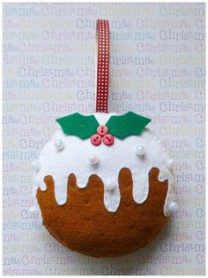 Christmas Pudding Ornament PDF Sewing Pattern and by SewJuneJones #ChristmasPudding #felt
