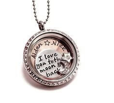 I Love You to the Moon and Back Living Locket - Floating Charm Locket - Glass Memory Locket