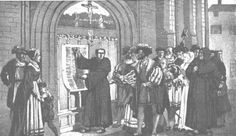 October Luther posts his 95 theses On this day in the Augustinian monk Martin Luther posted his 95 theses on the door of a Church in Wittenberg, Germany. Reformation Sunday, Lutheran, Holidays Halloween, Martin Luther, Thesis, History, World, Painting, Alternative