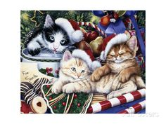Meowy Christmas 2 Giclee-vedos tekijänä Jenny Newland AllPosters.fi-sivustossa