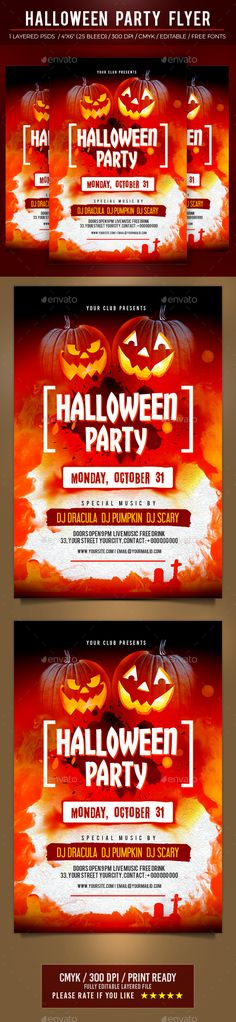 Buy Halloween by Pixelyes on GraphicRiver. - Well Organized one Layered Editable PSD file - With - CMYK Print Ready - Fonts link attached. Print Templates, Psd Templates, Halloween Party Flyer, Halloween Halloween, Spring Twist Hair, Event Flyer Templates, Event Flyers, Jungle Print, Halloween Design
