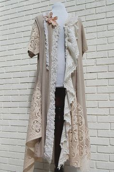 Upcycled lace, doilies, tableclothes made into a wrap #upcycled #jacket #boho bohemian wrap jacket