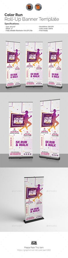 Color Run Fest Roll-Up Banner | Banners, Rollup banner and Print ...