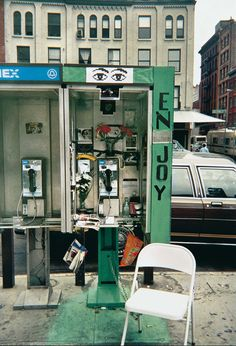 """The phone booth Calle commandeered to record people's reactions to """"a cultivated spot"""" as instructed by Auster in Gotham Handbook. New York City, 2000 Gotham, Op Art, Leslie Allen, Men Are Pigs, First Color Photograph, Paul Auster, Talk To Strangers, Trash Art, Gelatin Silver Print"""