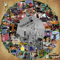 Cute idea, could put the thank you letter in the middle. Previous pinner: Magic Kingdom 2008 by Roxana. Not only is this a cool Disney layout, but if you are looking to do a layout with a ton of photos, this is a great idea. Vacation Scrapbook, Disney Scrapbook Pages, Scrapbook Sketches, Scrapbook Page Layouts, Scrapbook Cards, Scrapbook Photos, Disney Crafts, Disney Fun, Grandes Photos