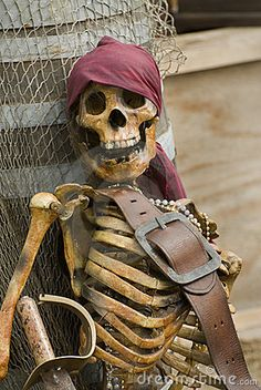 Photo about Pirate skeleton dressed in colorful pirates clothes with brown leather belt. Image of corpse, face, dangerous - 3194440 Pirate Halloween Party, Pirate Birthday, Halloween Skeletons, Halloween Art, Holidays Halloween, Halloween Themes, Pirate Halloween Decorations, Halloween 2018, Halloween Stuff
