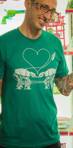 #Men's AT-AT #Green T-Shirt SM #tshirt #local #locavore #MadeinUSA #seattle #fashion #uglybaby #american #apparel #star #wars #AT #machine #love #heart #valentines #day