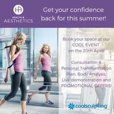 There is still a couple of spaces to book at our #CoolEvent tomorrow! #CoolSculpting is a cool way to lose stubborn fat for good so come along, ask your questions, have a free body analysis and personalised plan and receive amazing promotional offers! RSVP TODAY 01252 933 133!