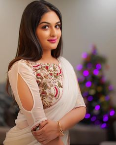 Top 50 Latest and Stylish Net Blouse Designs - Tikli Netted Blouse Designs, Blouse Neck Designs, Latest Saree Blouse Designs, Pretty Girl Images, Pretty Girls, Blouse Desings, Net Blouses, Sleeves Designs For Dresses, Stylish Blouse Design