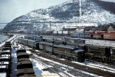 Pennsylvania Railroad Trains at the Conemaugh Engine Terminal in East Conemaugh Borough, Cambria County on March 14, 1959.
