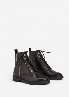 Zipper leather boots -  Women   MANGO USA