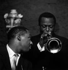 Miles Davis and Kenny Clarke (drums), Club Saint-Germain, Paris, December 5, 1957.