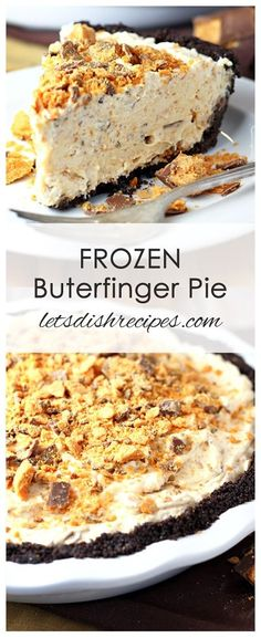 Frozen Butterfinger Pie Recipe Cream cheese, whipped cream and Butterfinger candy bars come together in a chocolate crumb crust for a cool, creamy frozen pie everyone will love! Frozen Desserts, No Bake Desserts, Easy Desserts, Frozen Pies, Frozen Cake, Summer Desserts, Frozen Frozen, Fall Dessert Recipes, Baking Desserts