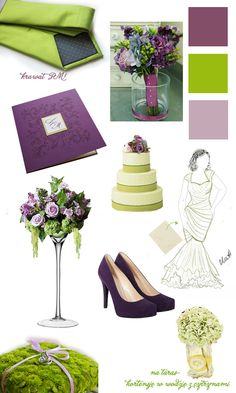 My purple & green wedding inspiration board. Tie and the invitation are actually my buys. Dress sketch drawn by me.