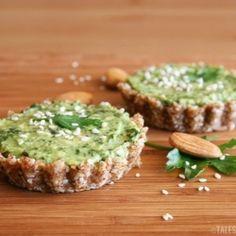 Pesto  and avocado mini tarts
