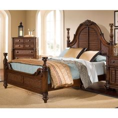 Progressive Palm Court II Coco Low Poster Bed
