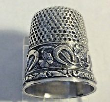 Antique Stern Brothers  Sterling Silver Lucky Clovers Horse Shoes Thimble Size 8