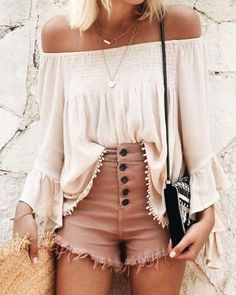 #spring #outfits White Off The Shoulder Blouse + Blush High Waisted Denim Shorts