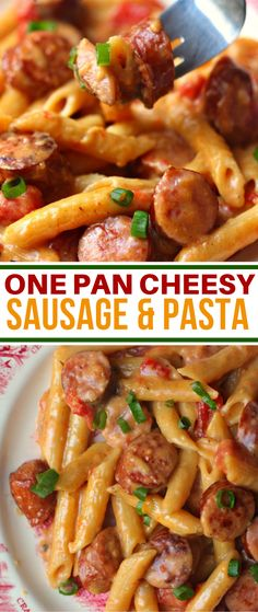 One pan cheesy smoked sausage pasta recipe dinner pastarecipe creamy cajun shrimp pasta with sausage is easy to make weeknight one pot pasta dish! with only 30 minutes of total work this shrimp pasta dinner recipe is simple fast and delicious! Cheesy Sausage Pasta, Sausage Meals, Smoke Sausage Pasta, Pasta With Smoked Sausage, Sausage And Peppers Pasta, Four Cheese Pasta, Baked Sausage, Cheesy Chicken Pasta, Chicken Soups