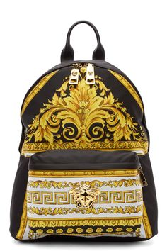 Versace Black And Gold Baroque Print Backpack