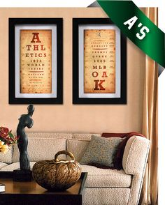 Oakland Athletics - Double-Play Art Combo - A's Birthday, Christmas or Wedding Gift - Vintage Khaki - Unframed Prints on Etsy, $39.50