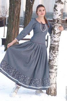 """Платья ручной работы. Ярмарка Мастеров - ручная работа. Купить Платье  """"Миледи"""" из джинсы. Handmade. Комбинированный, джинсовое платье"""