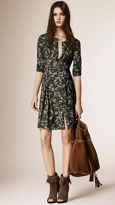 evaChic   This Burberry Brit Front Camouflage Silk Dress is perfect to wear with a thigh-high suede boot and a fringe jacket! http://www.evachic.com/product/burberry-brit-front-camouflage-silk-dress-2/